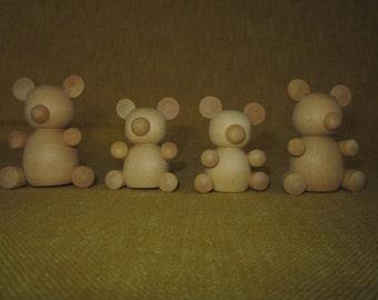 Wood bear family, 2 large,2 small, craft, folk art, tole painting