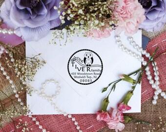 Personalized Custom Return Address Rubber Stamp, Wood Block, Clear Block, Cute Owl Address Stamper, Self Inking, Ink Pad --2751