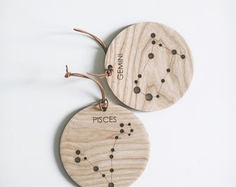Constellations / Signs of the Zodiac medallion from wood