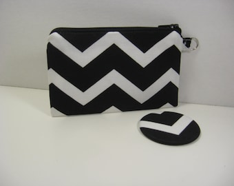 Coin Purse, Pocket Mirror, Mini Glam Pouch, Credit Card Holder, Gift Card Holder, Zipper Pouch, Black and White Chevron