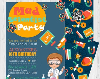 Science invitation etsy birthday invitations kids science experiment science themed party mad science party science birthday party science party filmwisefo