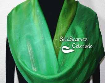 Silk Scarf Green Olive Hand Painted Shawl GREEN GOLD, in 2 SIZES. Silk Scarves Colorado. Birthday Gift, Bridesmaid Gift. Christmas Gift