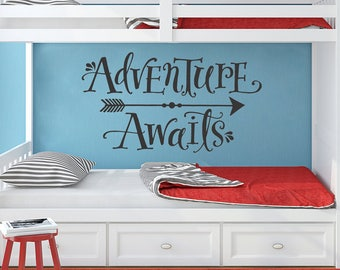 Adventure Awaits Wall Decal - Adventure Wall Quote - Kid's Room Wall Decor - Arrow Decal - Hand Lettered Quote