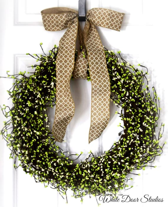 Green and White Pip Berry Front Door Wreath
