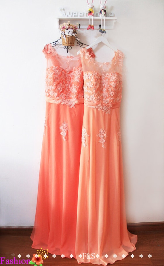 Plus Size Bridesmaid Dresssexy Plus Size Peach Lace Evening