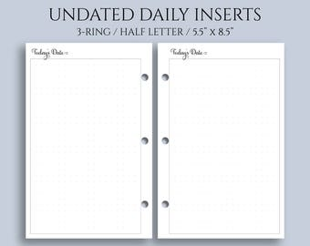 """Undated Daily Planner Inserts, DO1P w/ Large Dot Grid Notes Section ~ Half Letter / 5.5"""" x 8.5"""" / Mini 3-Ring (3RM-DV5-U)"""