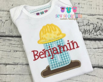 Personalized baby boy construction outfit - baby boy clothes -  Boy Hard Hat Shirt - Baby Boy personalized shirt - boy construction shirt