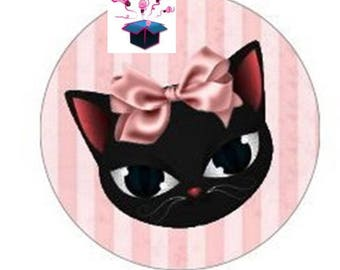 1 cabochon clear cat themed 30 mm