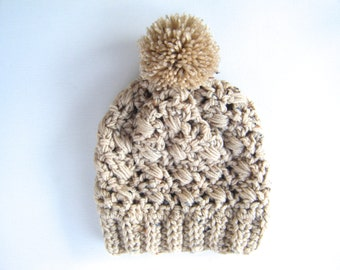 PATTERN:  Sesame Hat, textured banded lacy pom pom hat, easy crochet pattern PDF, Size Adult/Teen, InStAnT DoWnLoAd, Permission to Sell