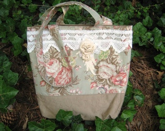 Tote Bag, Shopping Bag, Shabby Chic Roses and Lace