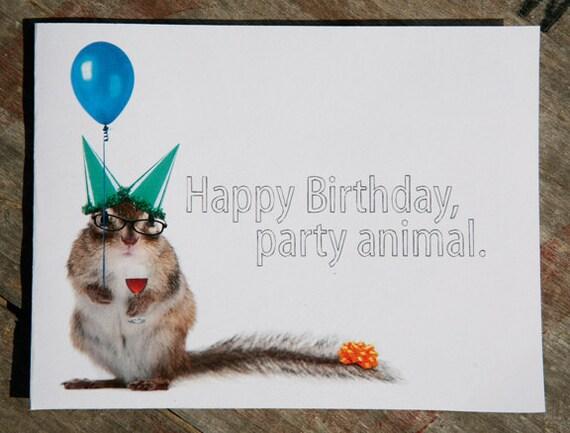 Party Squirrel Birthday Card