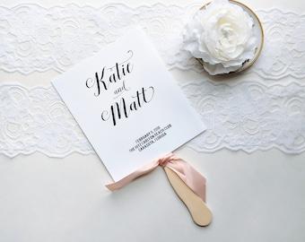 Blush Fan Programs, Blush Program Fans, Black and White Programs, Beach Fans, Ceremony Program - The Katie Wedding Program Fan SAMPLE