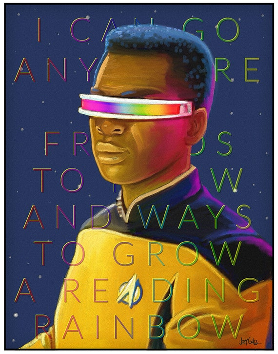 "mashup ""La Forging Rainbows"" art print on premium matte paper with archival ink // Reading Rainbow // Star Trek // TNG"
