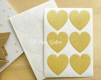 Glitter Heart Stickers Gold Silver Envelope Seals - Pack of 24