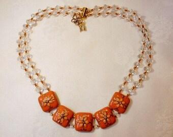 """Caramel"" metal enamel/rhinestone/glass necklace"