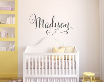 Swirly Name Wall Decal - Baby Girl Nursery Wall Decal - Girls Name Wall Decal - Vinyl Wall Decal - Vinyl Lettering