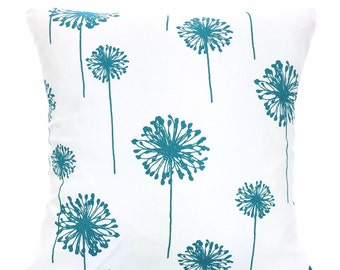 Turquoise Pillow Covers, Throw Pillow, Cushion Covers, True Turquoise White Large Dandelion, Couch Bed Sofa 12 x 16 or 12 x 18