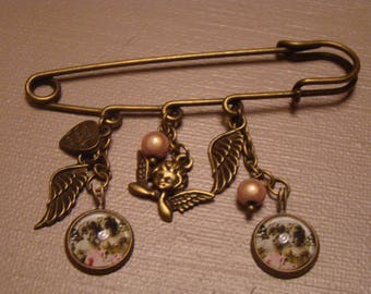 Charms and glass Angels Cabochons brooch