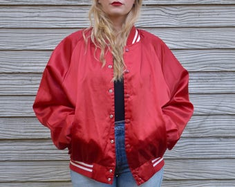 Shiny Red Lettermen Casino Bomber