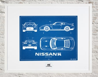 Car blueprint etsy nissan gtr blueprint car decor wall art malvernweather Choice Image