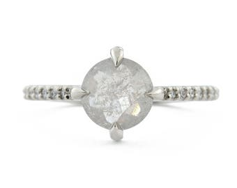 Gray Diamond Ring, 14K Gold Rose Cut Diamond Engagement Ring, Compass Set Rose Diamond Ring