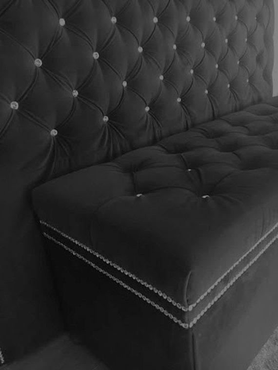 Crystal Button Tufted cabecero de terciopelo con doble cristal