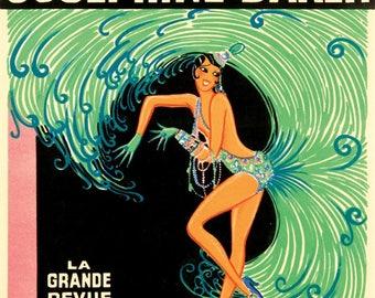 France - Josephine Baker - Casino de Paris Qui Remue - (artist: Gaudin c. 1930) - Vintage Ad (Art Print - Multiple Sizes Available)