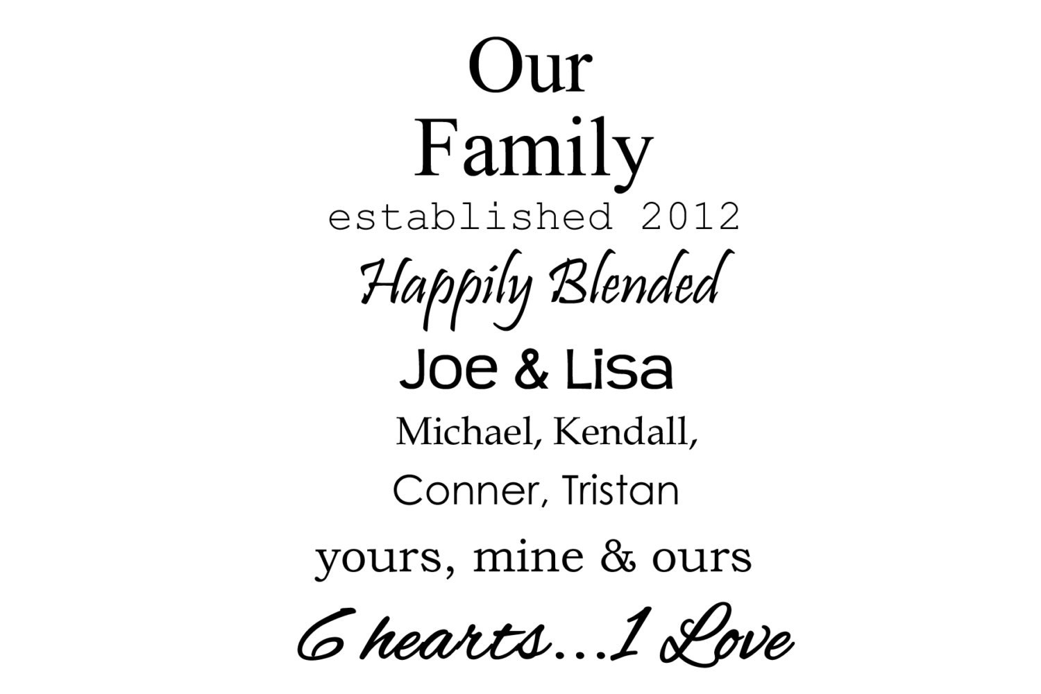 Our Family Happily Blended Vinyl Wall Quote