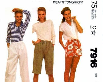 McCall's 7916, Vintage Sewing Pattern, Misses' and Young Junior/Teen Pants or Shorts, Vintage Clothing Pattern, Pattern Craft