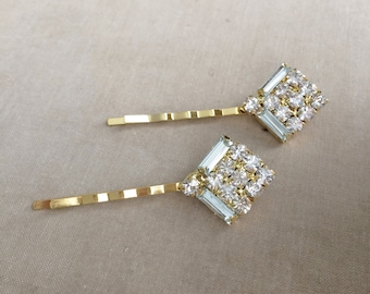 Art deco hairpin, gold, hairpin, Bridal Crystal Hairpins, rhinestone, hair accessory,rhinestone hair clip SQUARE LARGE GOLD wholesale