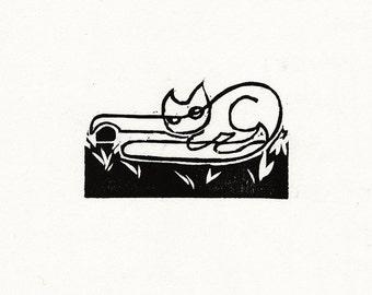 "Original Woodcut Cat Art Handmade Limited Edition Print ""02.28-Caught"""