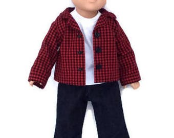 18 Inch Boy Doll Clothes, Red and Black Plaid Shirt, White T-shirt, and Blue Jeans, Red and Black Checked Shirt, Made to Order
