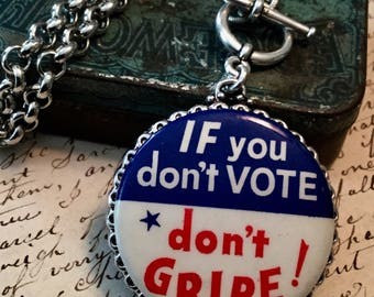 1960's Voting Pinback Necklace Authentic