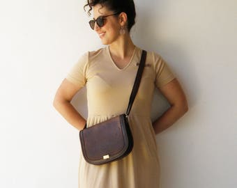 Vintage Brown Leather Purse / Distressed Leather Bag