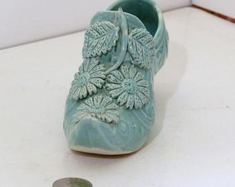 Green Flowered Majolica Shoe