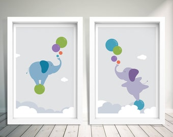 Sky Dancing Elephants - Set of 2 A4 prints, Nursery Decor Elephant