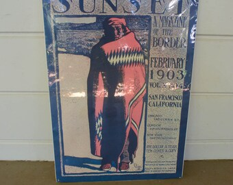 Sunset Poster Maynard Dixon Indian Vintage Sunset Cover 1973
