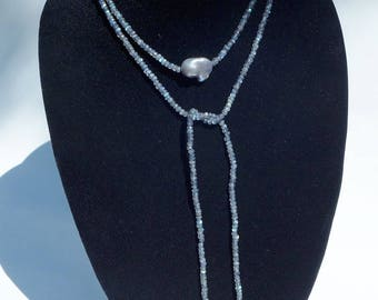 Long Labradorite and Silver Grey Baroque Pearl Lariat Necklace and Earrings
