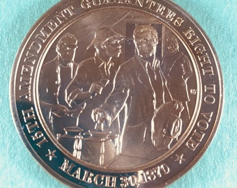 Franklin Mint Medal History of United States 15th AMENDMENT, 1870  44mm Bronze Mint Cond<>#PSY-19