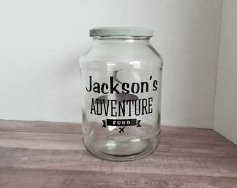 Adventure Fund Personalized Jar, Large Glass Adventure Awaits, Large Personalized Savings Jar, Adventure Seeker Gift, Honeymoon Savings Jar