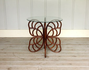 Vintage Rattan Butterfly Side Table Deco Mid Century Modern Bamboo Retro Glass Top