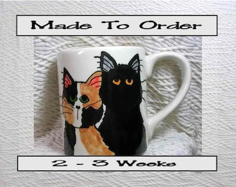 Calico & Black Cats Ceramic Mug Handpainted Original Design With Paw Prints GMS