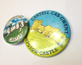 PAIR Vintage badge Castell Cas-Gwent Chepstow Castle Lapel Pin Brooch