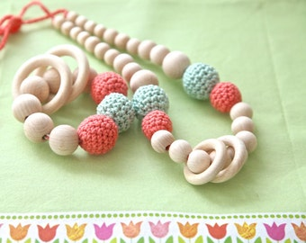 Set of 2. Natural mint and coral nursing rings necklace and teething ring wooden toy.