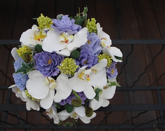 Orchid,Lillac,English Rose Wedding Bouquet