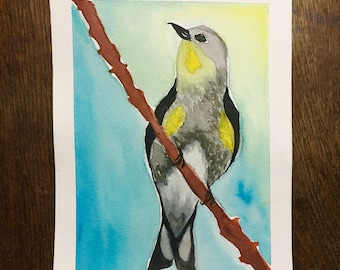 Yellow-Rumped Warbler Watercolor Portrait-small