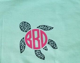 Turtle monogram, Turtle Monogrammed tee, Turtle Monograms, Turtle Monogram Tee, Turtles, Turtle Monograms, plus size clothing, Sale