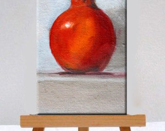 Red Pomegranate, Small, Canvas Painting, Original, Oil Painting, Kitchen Wall Decor, 4x6, Still Life