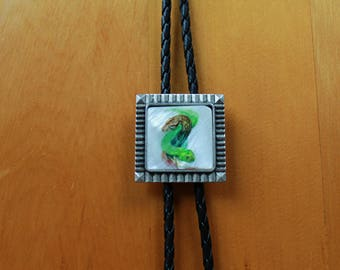 Bolo Tie - Dueling Snakes - Painting on Ivory