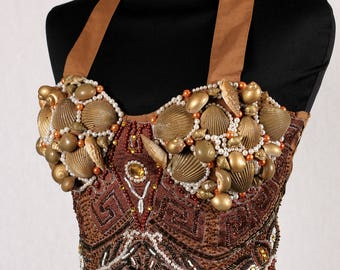 1980s Vintage bodice with sequins and shells
